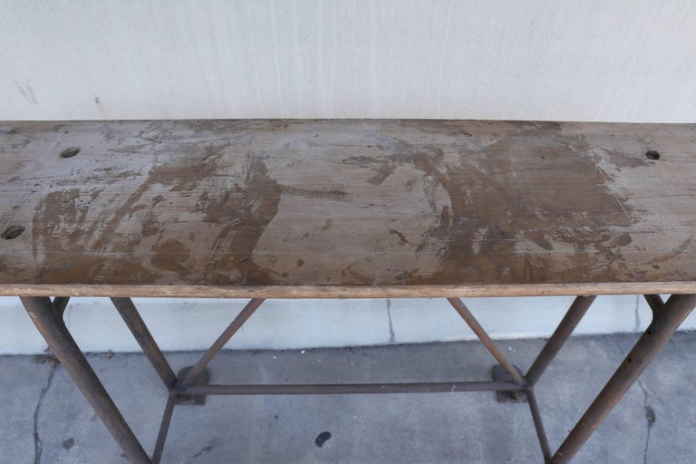 20th Century Tall Iron and Wood Industrial Console, circa 1900 Found in France For Sale
