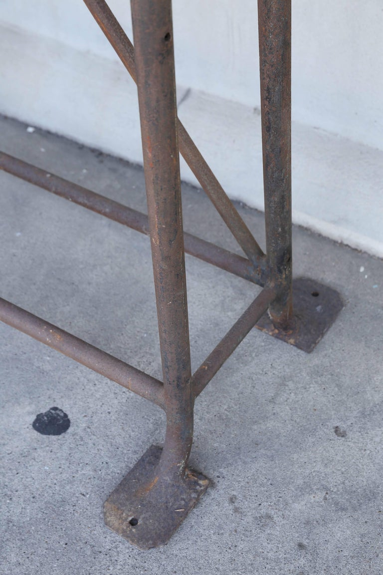 Tall Iron and Wood Industrial Console, circa 1900 Found in France For Sale 1