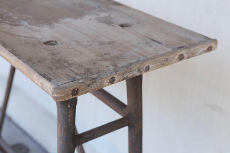 Tall Iron and Wood Industrial Console, circa 1900 Found in France For Sale 2