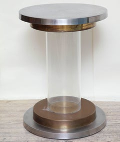 Table Mid Century Modern lucite aluminum and brass 1970's