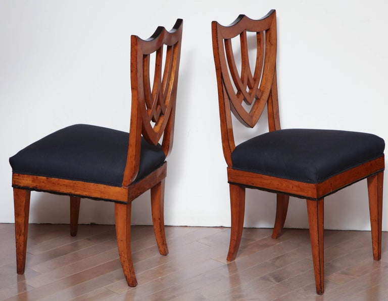 Early 19th Century Pair of Viennese Side Chairs, circa 1830 For Sale