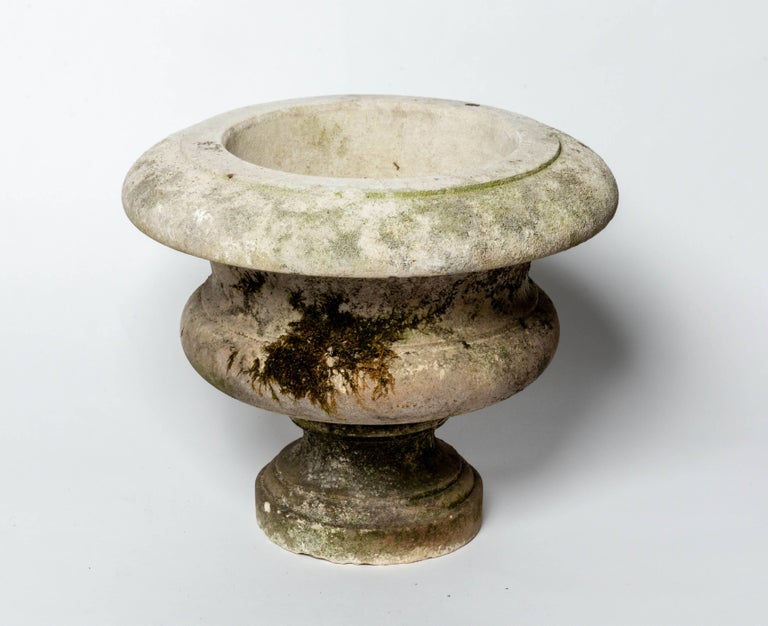 20th Century Pair of Aged Cement Urns Form Planters For Sale