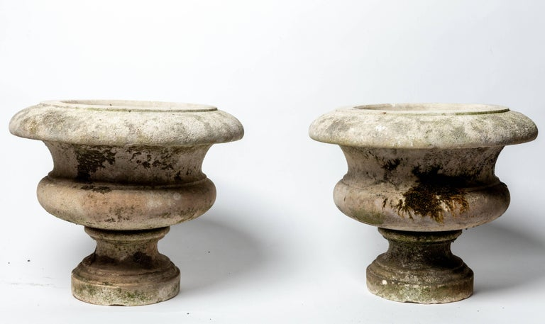 Pair of Aged Cement Urns Form Planters For Sale 1