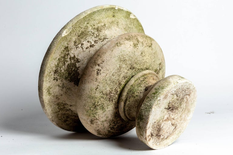 Pair of Aged Cement Urns Form Planters For Sale 2