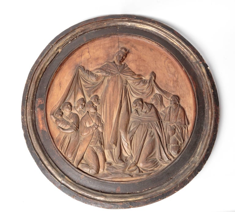 Hardwood 18th Century Italian Religious Carved Wood For Sale