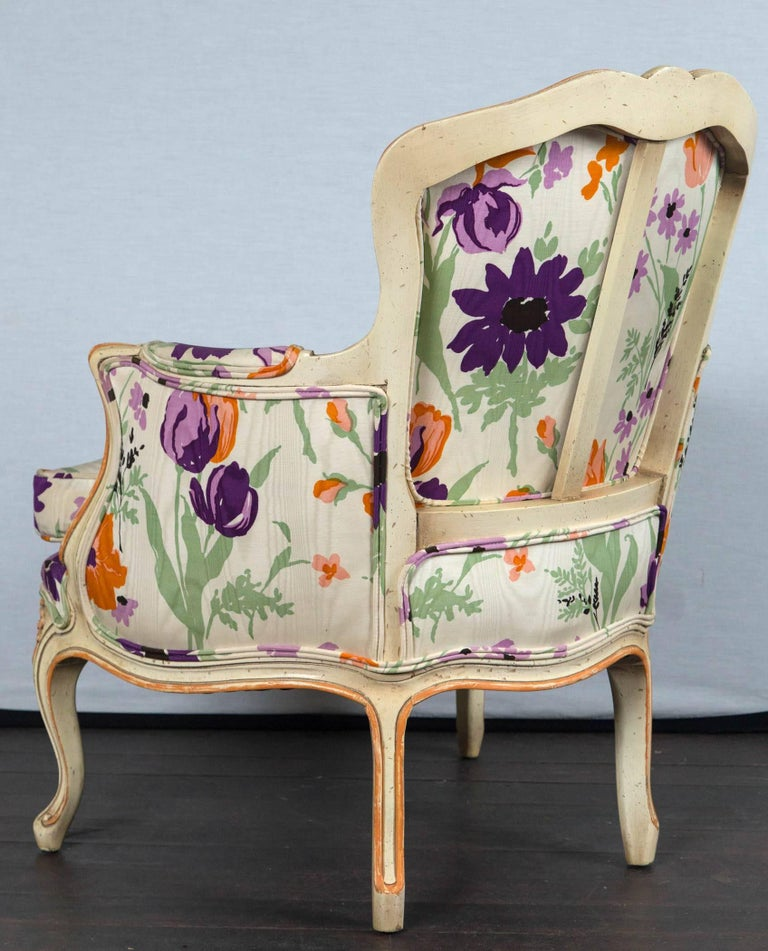 Pair of 1970s French Bergere with Woodson Style Fabric For Sale 3