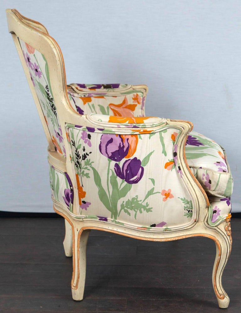 Pair of 1970s French Bergere with Woodson Style Fabric For Sale 5