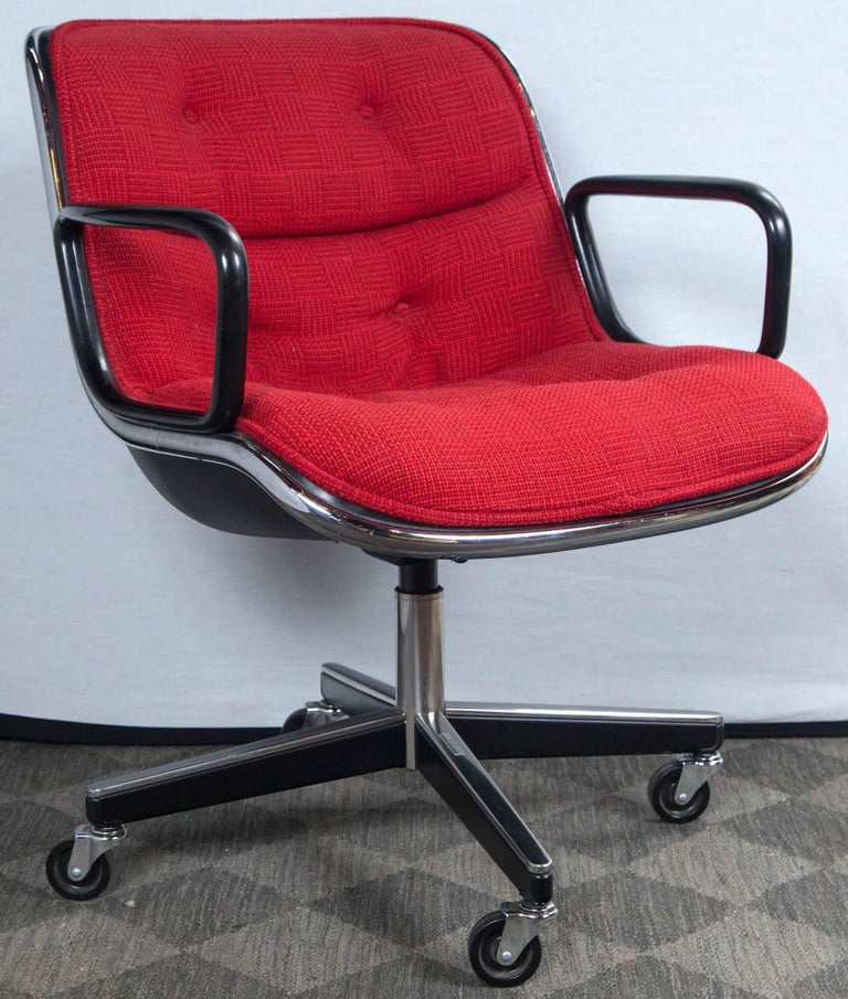 A pair of high quality 1970s Pollock chairs by Knoll. Original Knoll fabric looks brand new. Both chairs are in excellent condition. Chrome is in excellent condition. Measures: Arm height: 25.75.