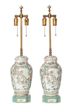 Chinese Porcelain Lidded Jars as Custom Lamps / 19th Century