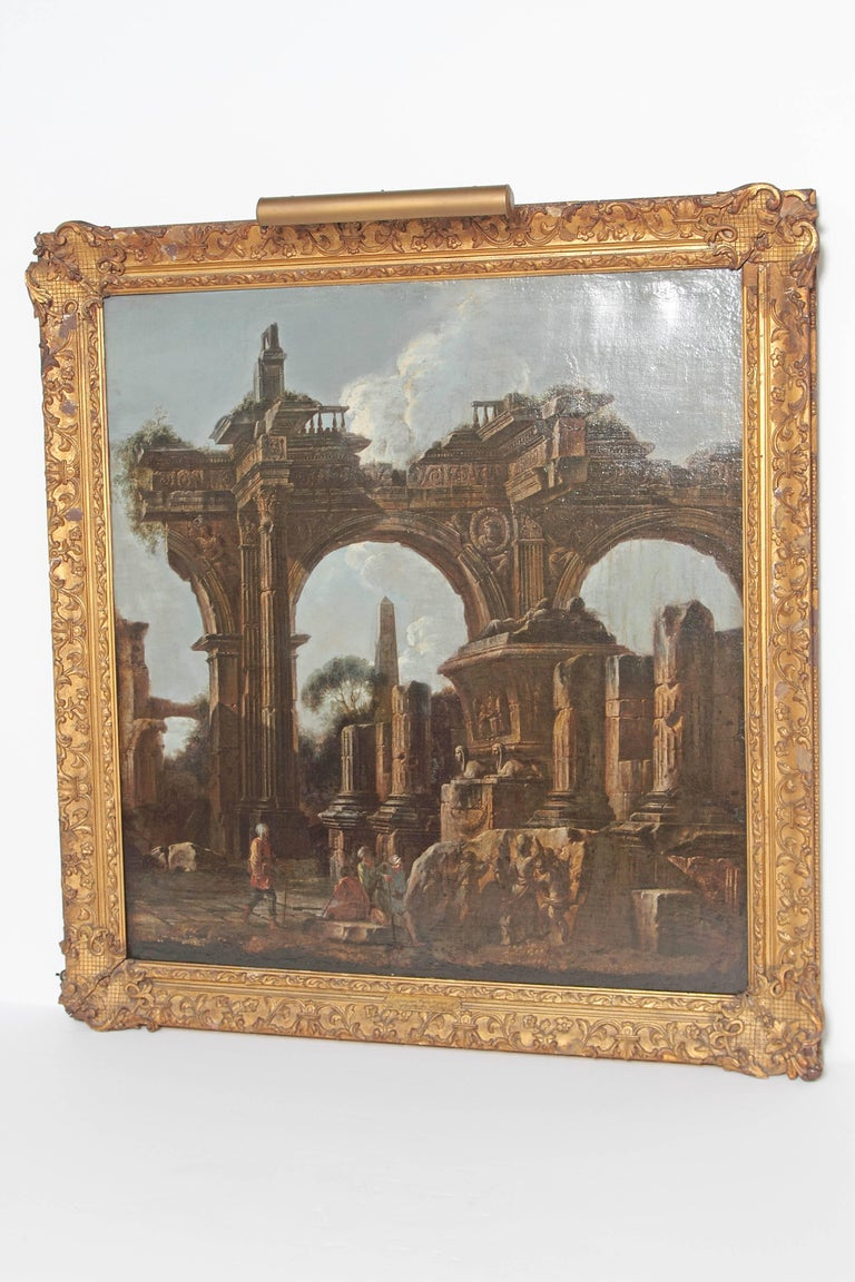 Italian Baroque Painting or Classical Ruins Attributed to Giovanni Ghisolfi For Sale