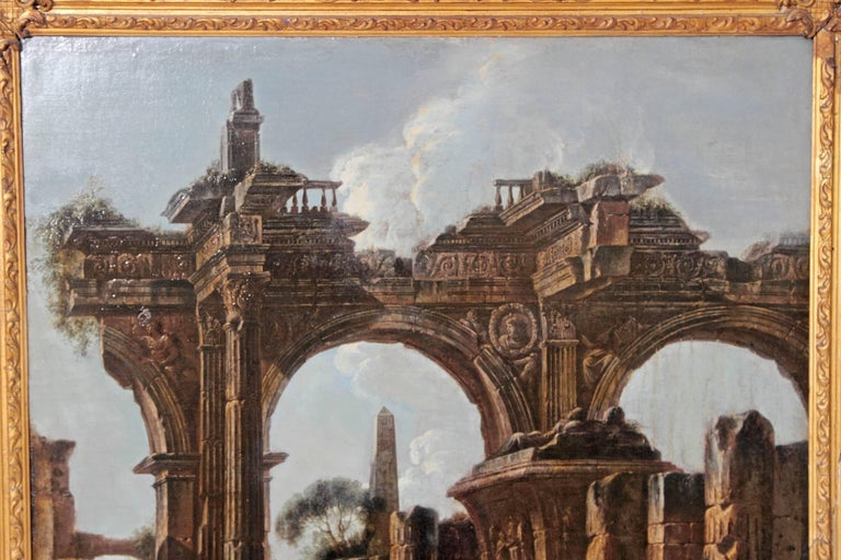 Hand-Painted Baroque Painting or Classical Ruins Attributed to Giovanni Ghisolfi For Sale