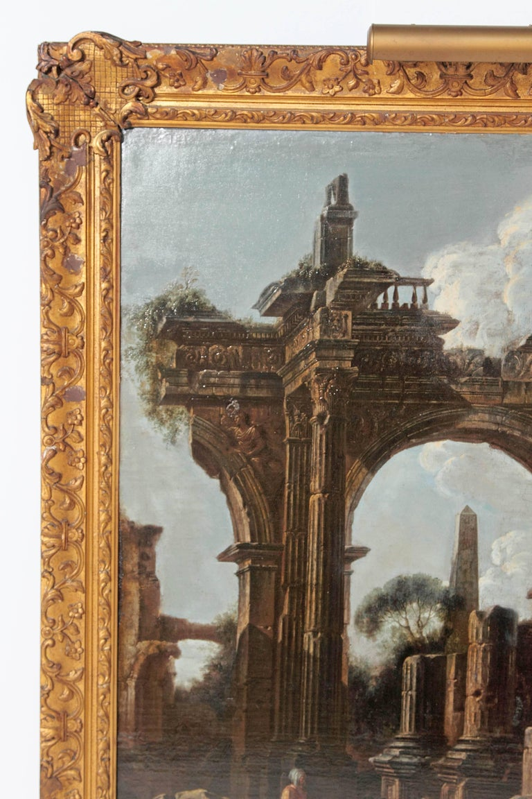 Baroque Painting or Classical Ruins Attributed to Giovanni Ghisolfi In Good Condition For Sale In Dallas, TX