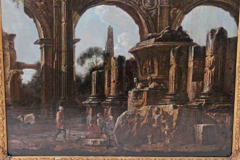 Baroque Painting or Classical Ruins Attributed to Giovanni Ghisolfi For Sale 1