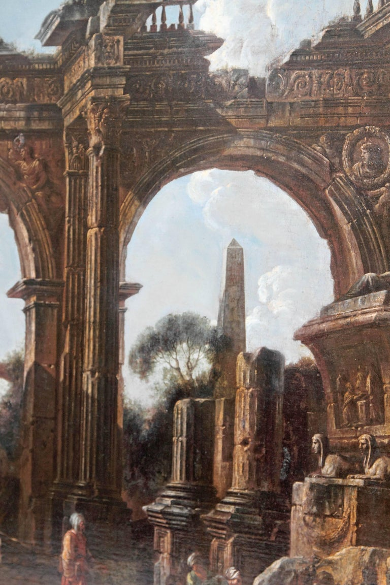 Baroque Painting or Classical Ruins Attributed to Giovanni Ghisolfi For Sale 2