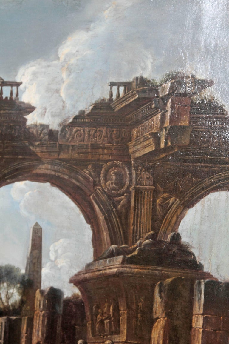 Baroque Painting or Classical Ruins Attributed to Giovanni Ghisolfi For Sale 3