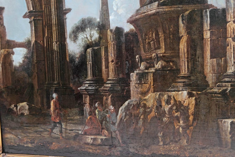 Baroque Painting or Classical Ruins Attributed to Giovanni Ghisolfi For Sale 4