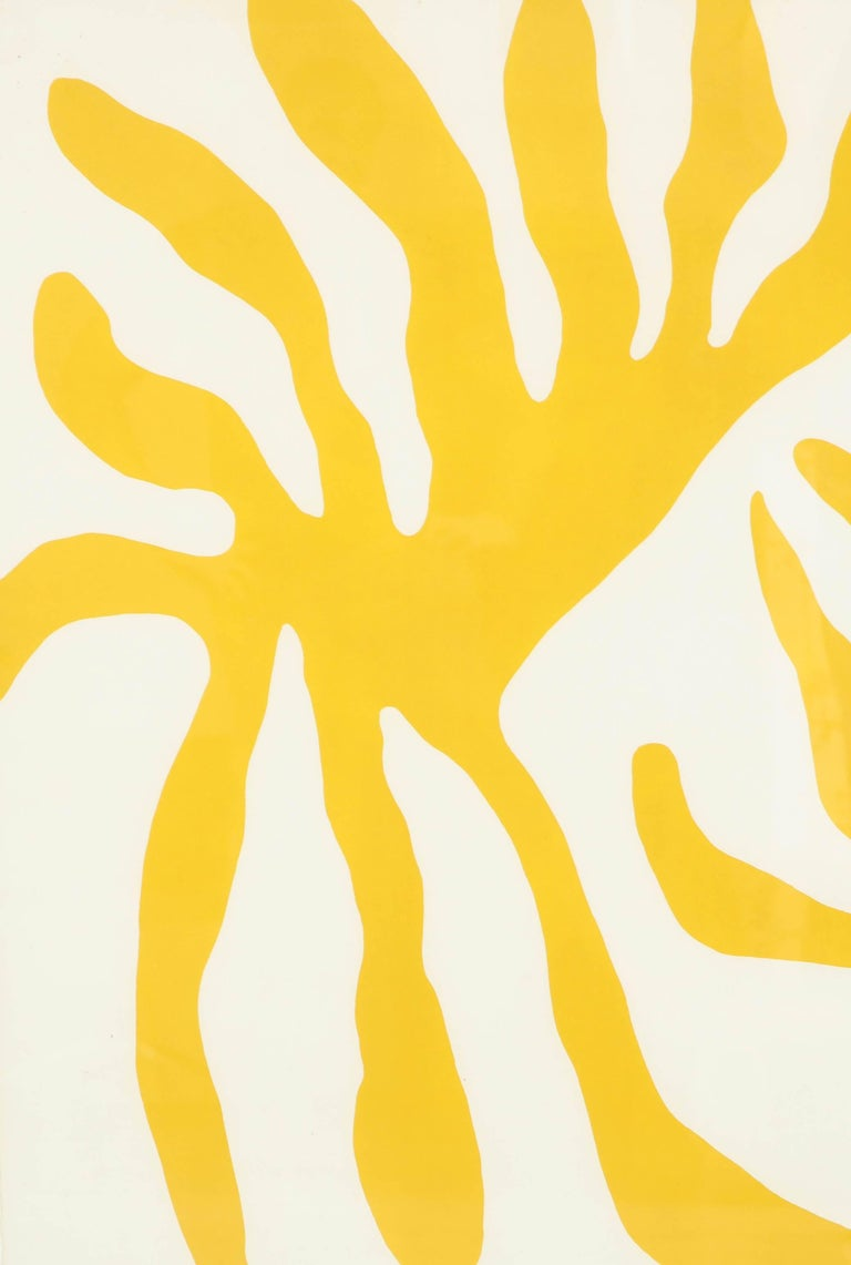 A striking screen print in yellow, signed by William Turnball (Scottish, 1922-2012) in a black frame.