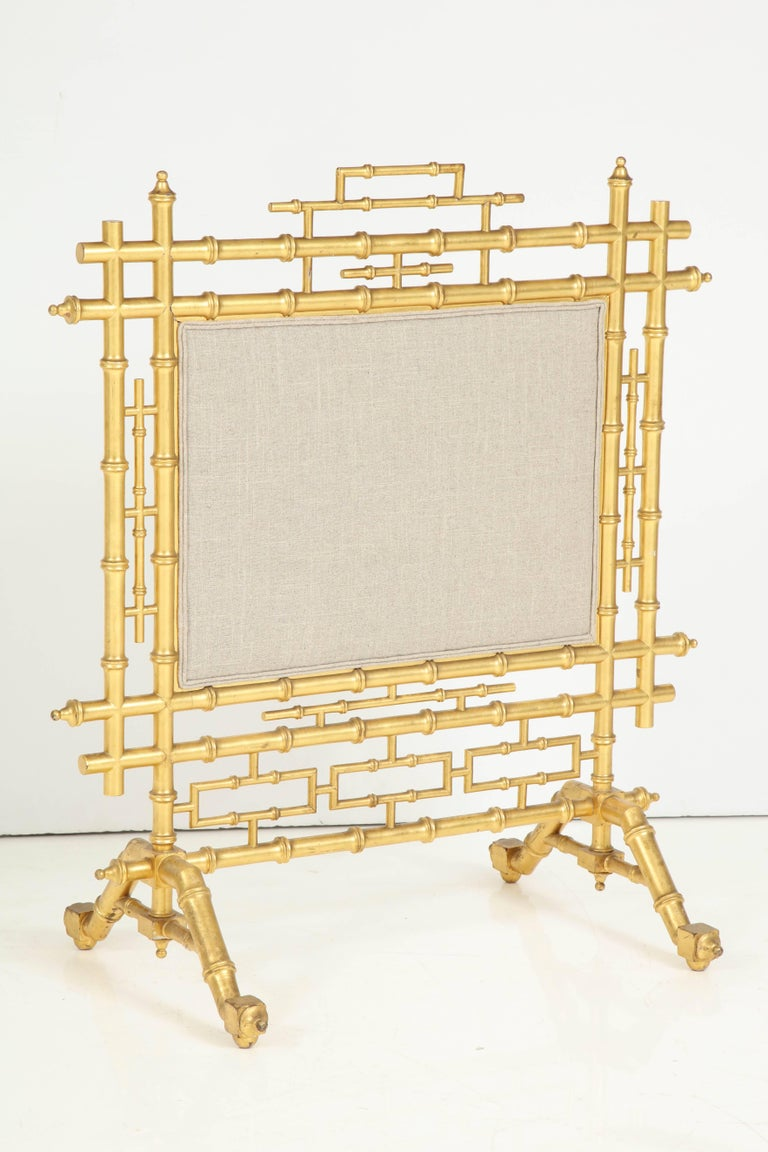 20th Century Faux Bamboo Fireplace Screen For Sale