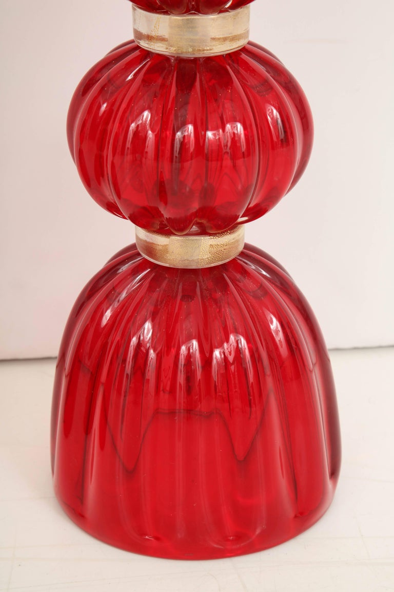 Italian Pair of Red Murano Glass Lamps For Sale