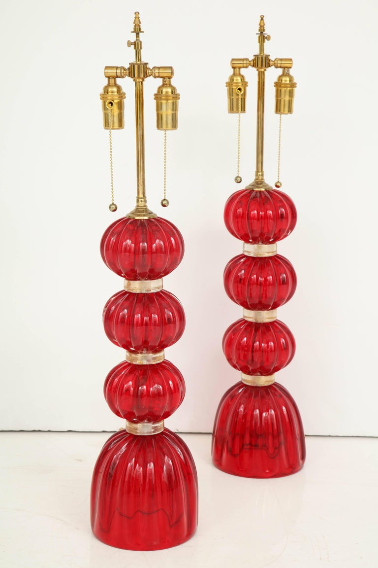 20th Century Pair of Red Murano Glass Lamps For Sale