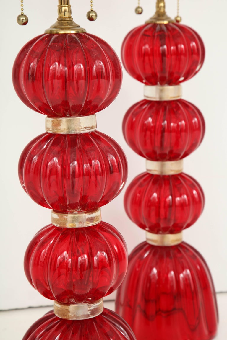 Pair of Red Murano Glass Lamps For Sale 1