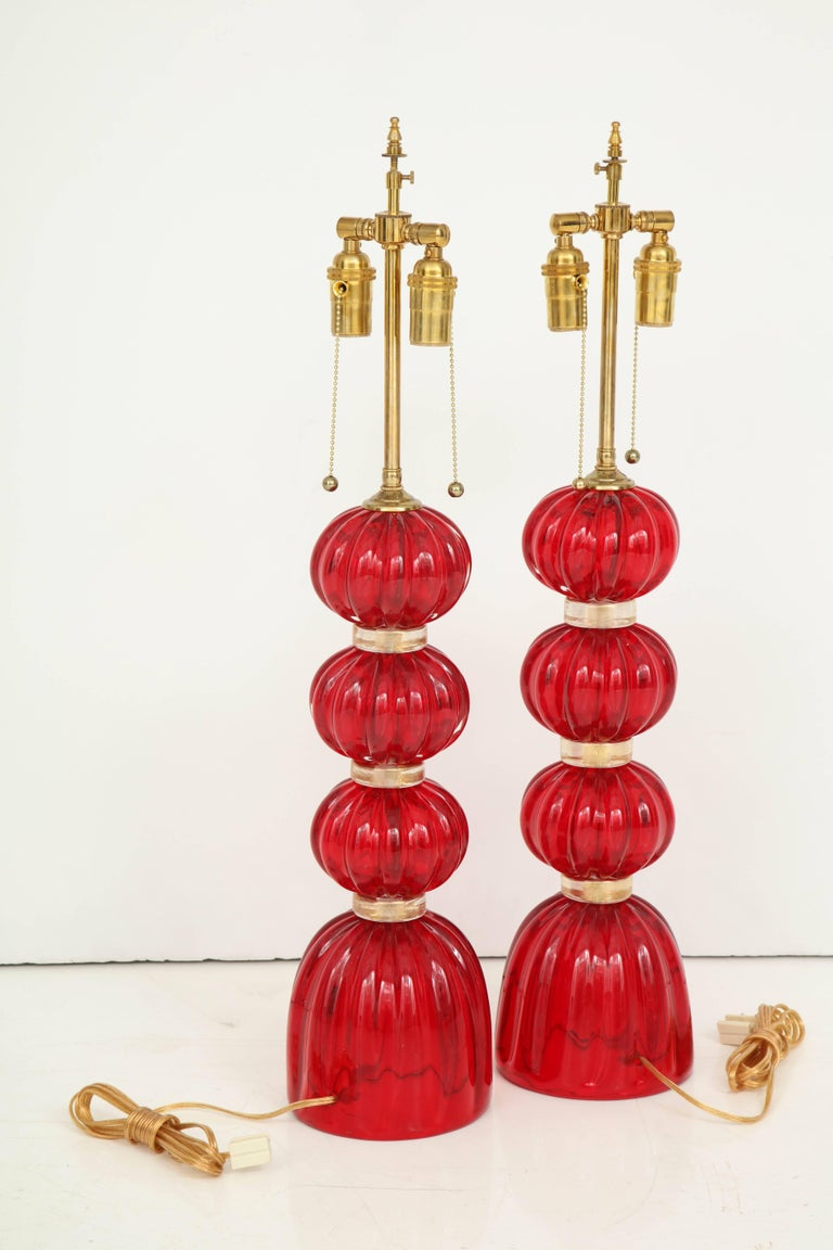 Pair of Red Murano Glass Lamps For Sale 3