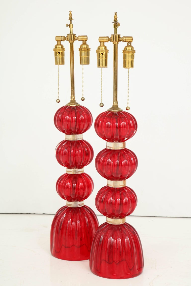 Pair of Red Murano Glass Lamps For Sale 4