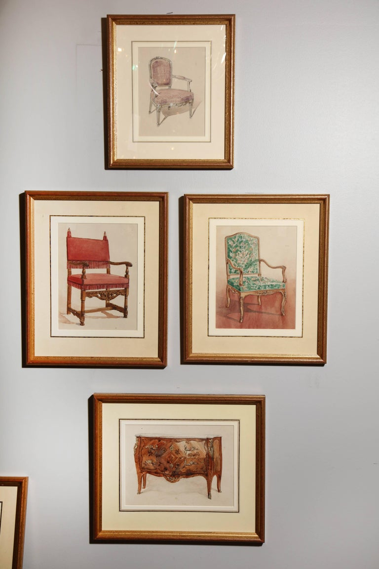 Series of Hand-Painted Drawings of Furniture In Excellent Condition For Sale In New York, NY