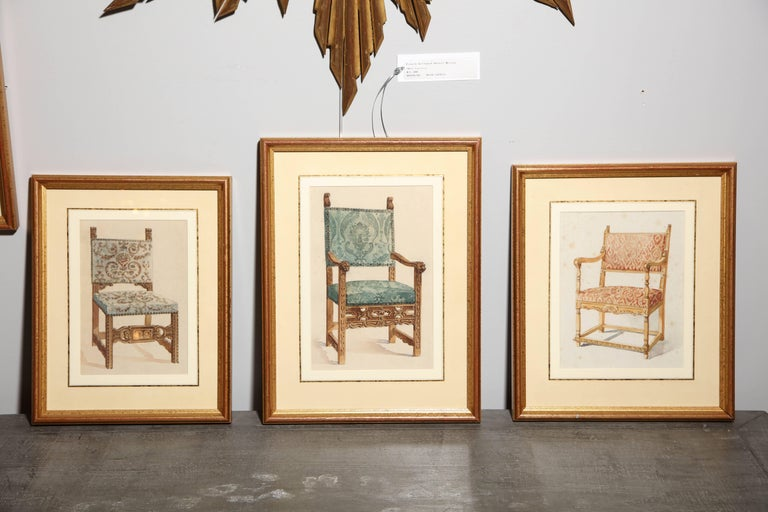 19th Century Series of Hand-Painted Drawings of Furniture For Sale