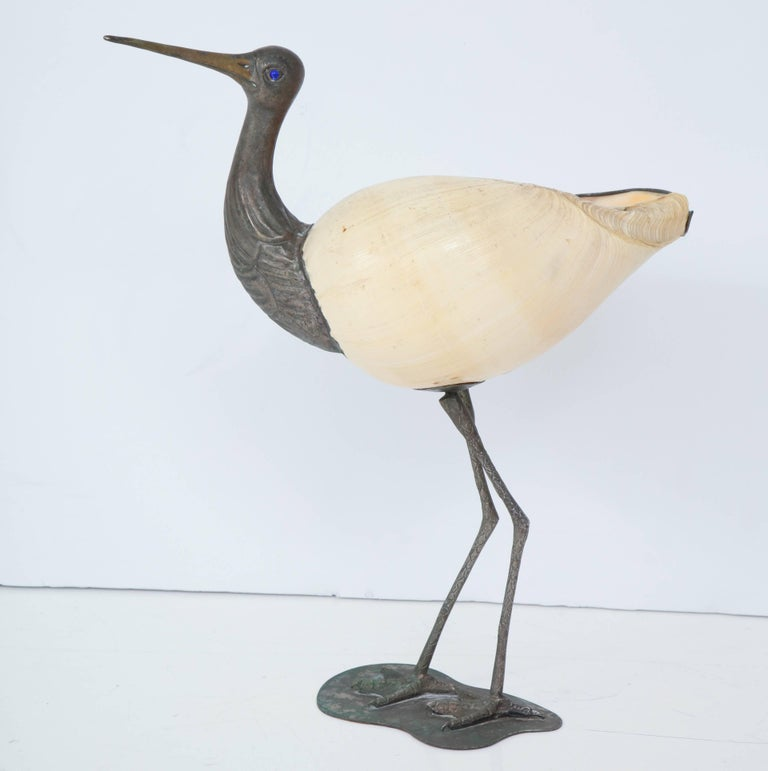 Natural seashell transformed into a bird by Foresto Binazzi.