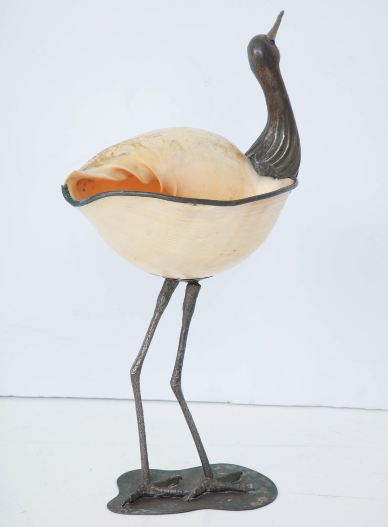 Silver Plate Binazzi Seashell Bird For Sale