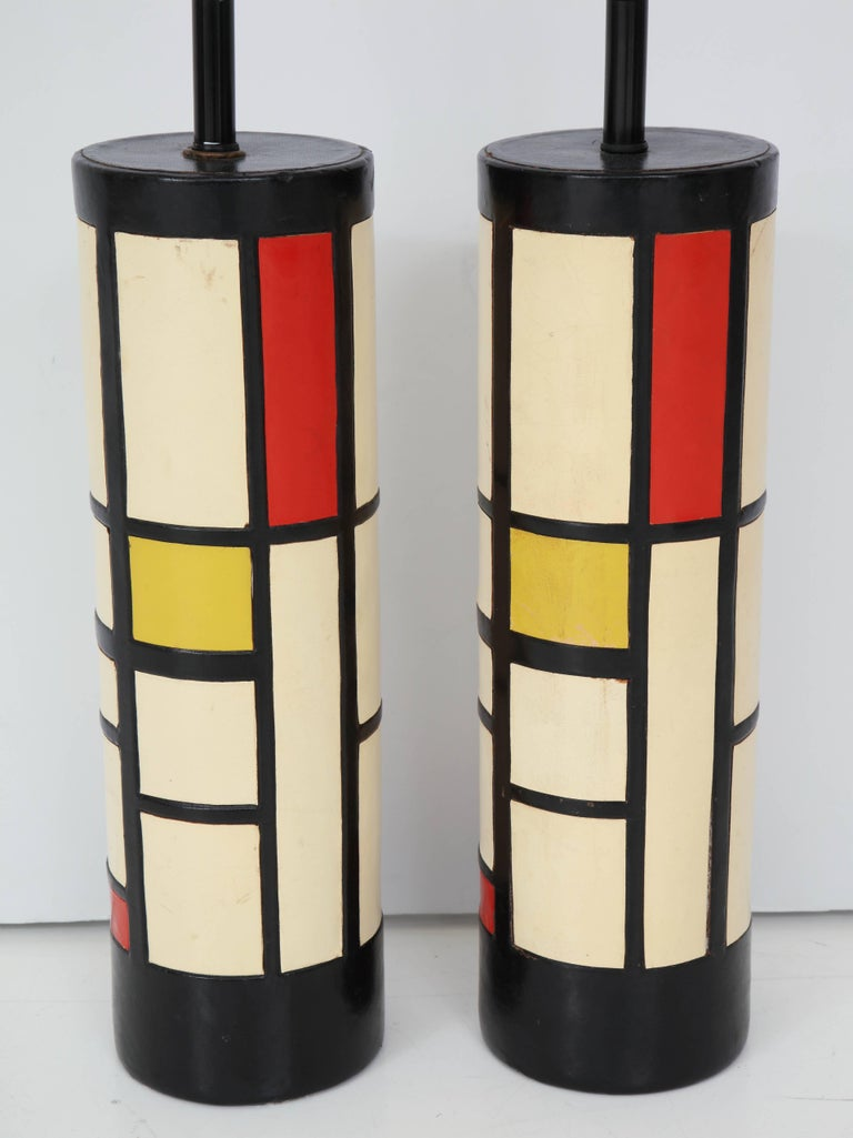 Mid-Century Modern Leather Mondrain Lamps For Sale