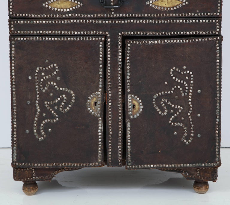 Spanish Colonial Leather Covered Desk For Sale