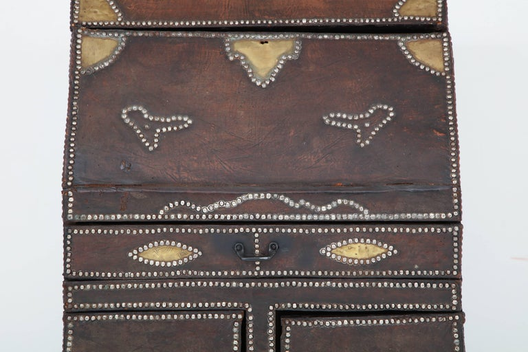 Spanish Leather Covered Desk For Sale
