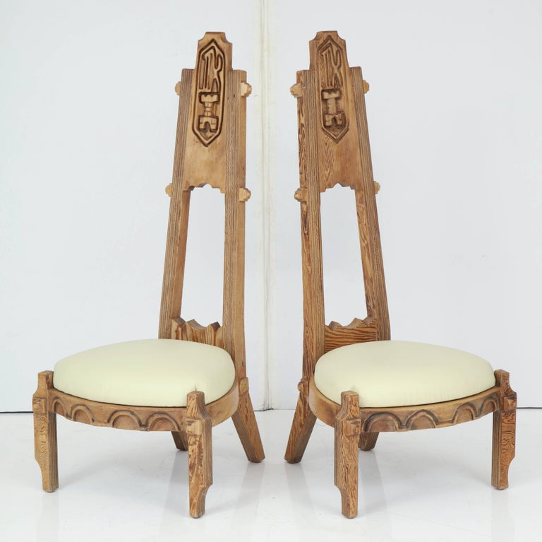 Carved Pair of Witco Tall Back Chairs For Sale