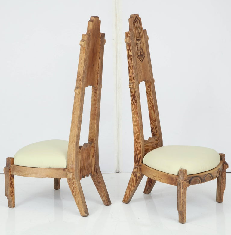 Wood Pair of Witco Tall Back Chairs For Sale
