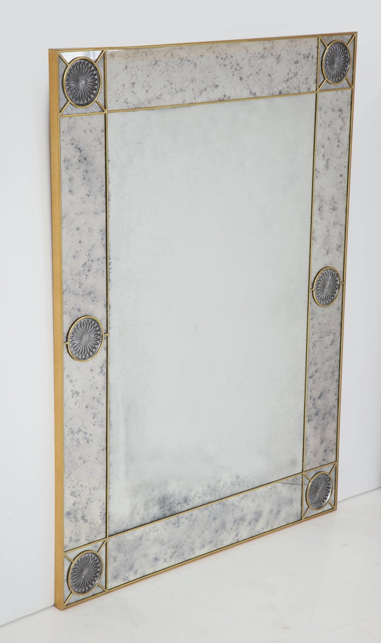 Decorative handcrafted brass and stained glass mirror by New York artist.