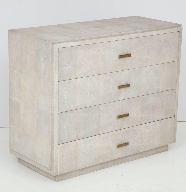 Decorative shagreen dresser with four drawers. Handles are beautifully crafted by bronze.  Delivery time is 12-15 weeks.