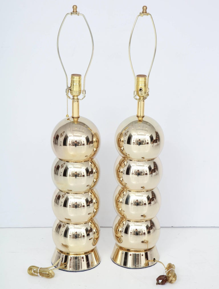 Brass Table Lamps, Midcentury, Pair In Excellent Condition For Sale In New York, NY