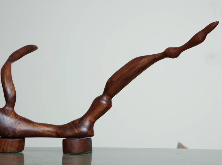 Midcentury abstract wood, wide tripartite sculpture.