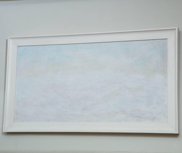 Untitled atmospheric landscape oil on canvas, Niels Michealson, circa 1970, as framed in softly aged gesso scoop frame