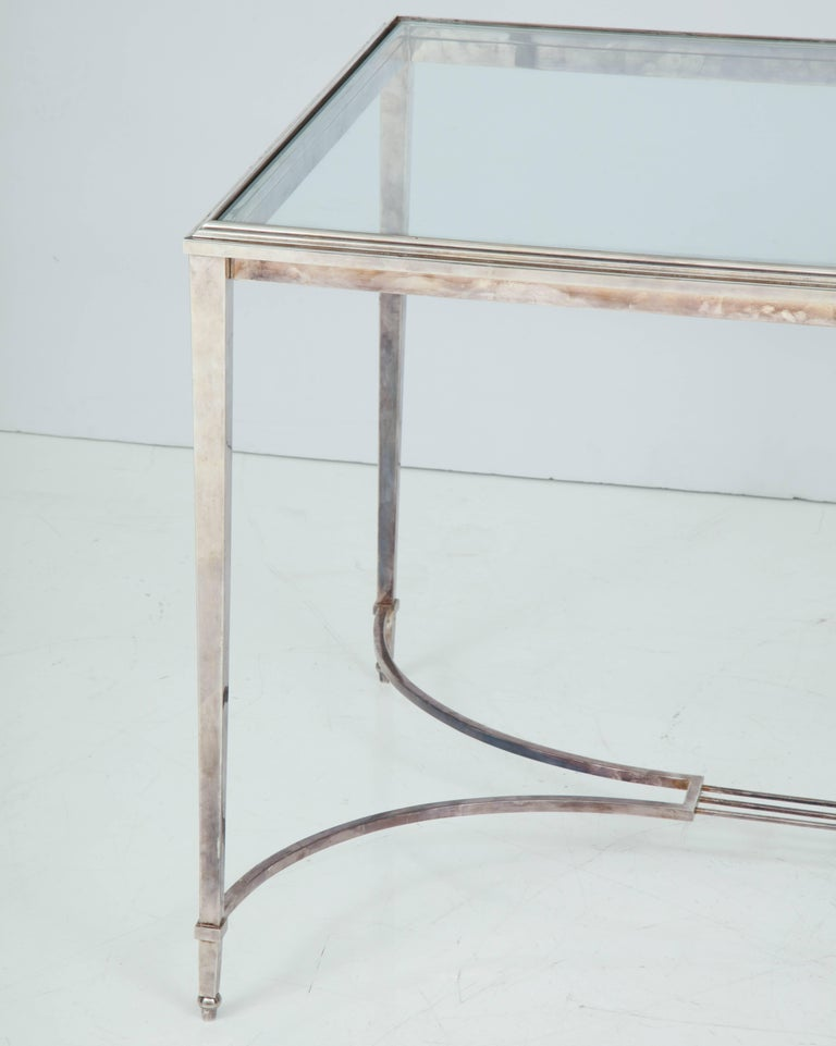 European French Silvered Bronze Table For Sale