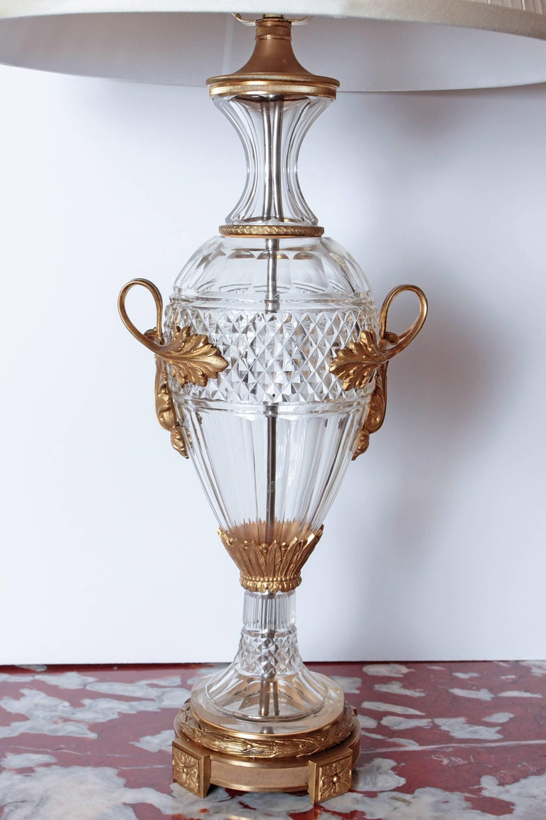 French Pair of Late 19th Century Cut Crystal and Gilt Bronze Urns Made into Lamps For Sale
