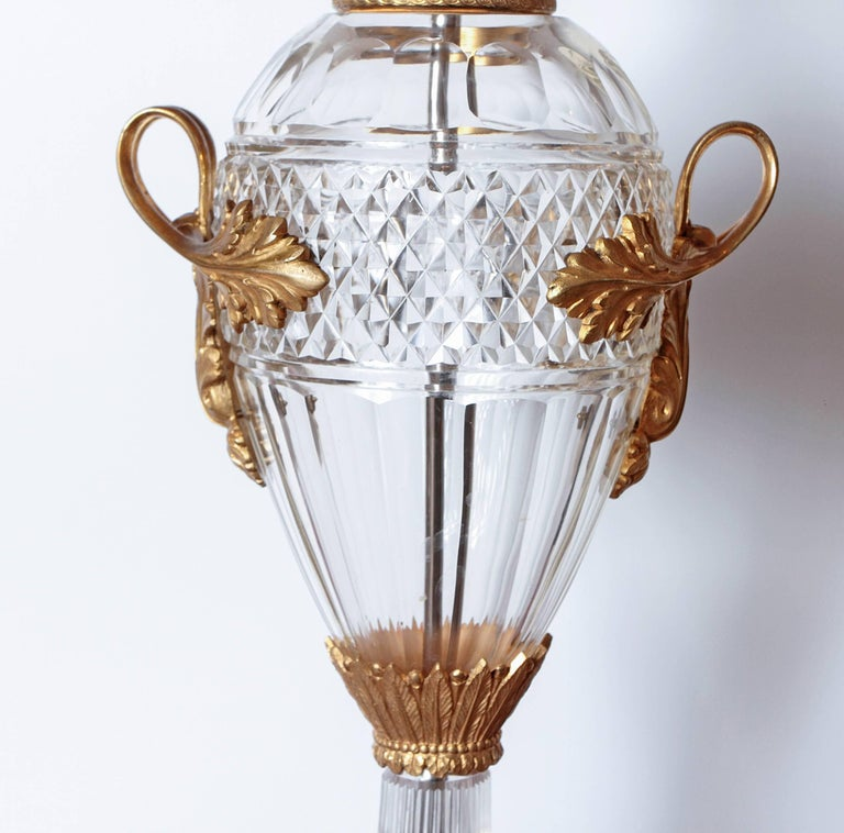 Pair of Late 19th Century Cut Crystal and Gilt Bronze Urns Made into Lamps In Excellent Condition For Sale In Dallas, TX