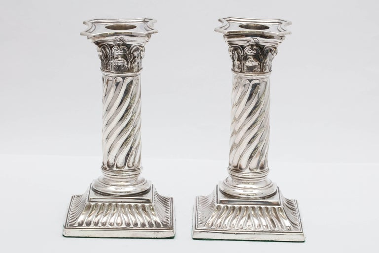 Pair of Sterling Silver Victorian Neoclassical Corinthian Column Candlesticks For Sale 1