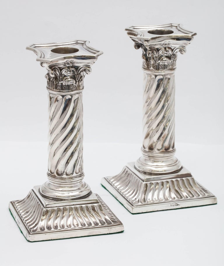 Pair of Sterling Silver Victorian Neoclassical Corinthian Column Candlesticks For Sale 2