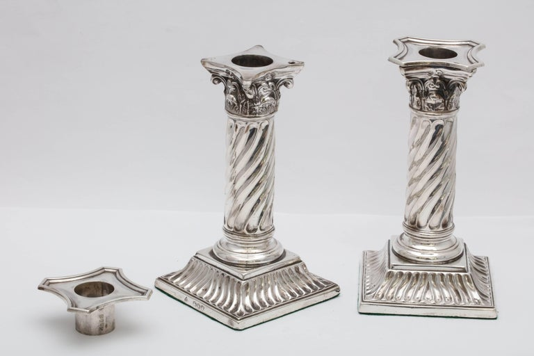 Pair of Sterling Silver Victorian Neoclassical Corinthian Column Candlesticks For Sale 3