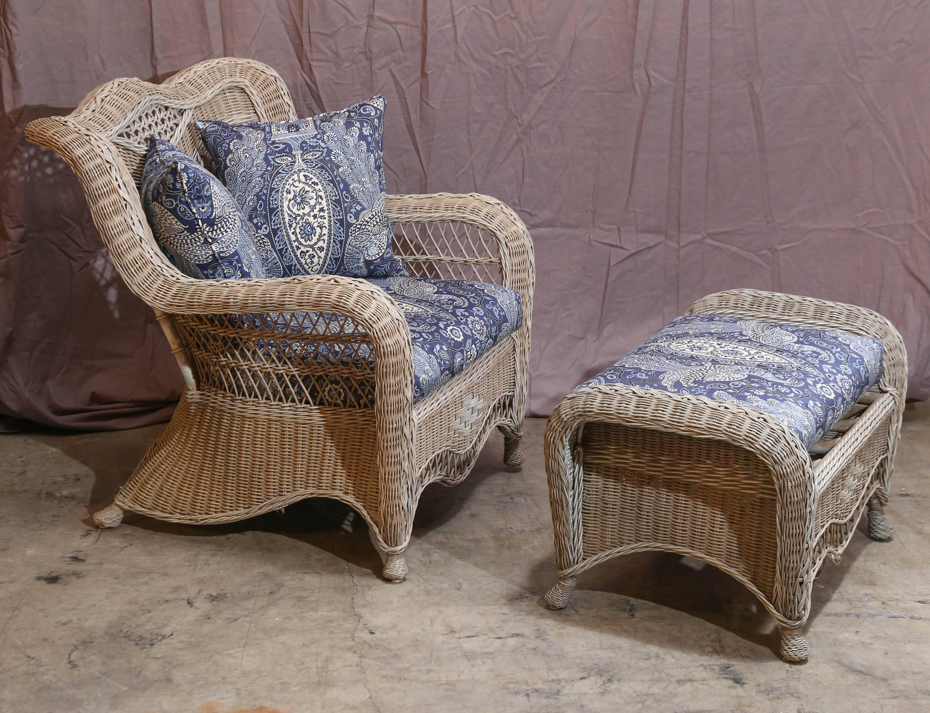 Victorian Style Wicker Chair And Ottoman Features Various Woven Patterns.  Items Were Originally Painted A