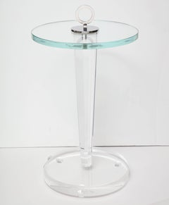 Custom Acrylic Occasional Table with Glass Top and Plated Nickel Ring