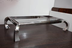 Custom Polished Nickel Cocktail Table with Glass Top